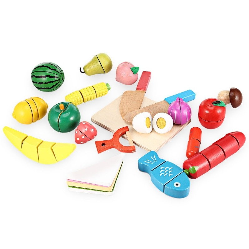 20pcs Wooden Cutting Fruits and Vegetables Barreled Toy - Colorful - 3P26453512