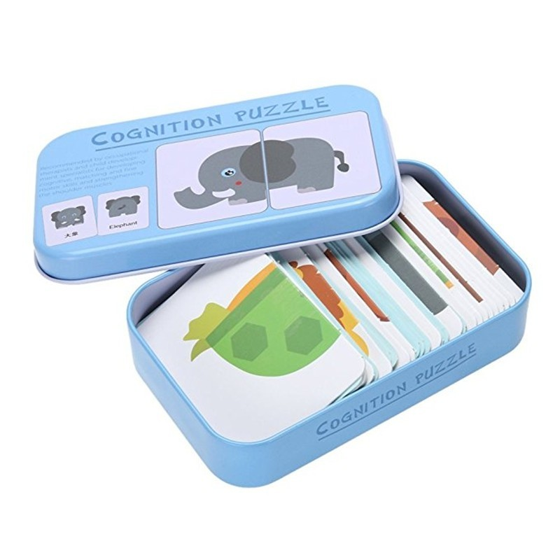 32pcs/Box Baby Learn English Pair Puzzle Cognitive Card Infant - Crystal Blue - 4K23009812