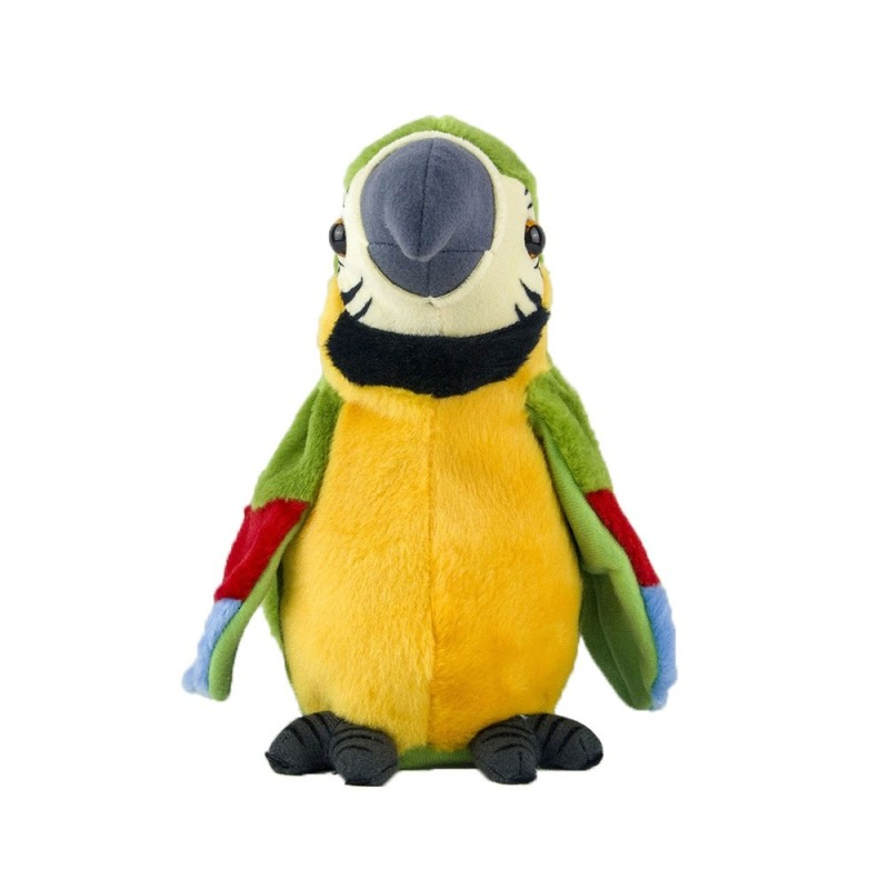 Stuffed Plush Electric Bird Talk Repeat Speak Record Wave Wings Parrot Toy - Yellow Green - 5V57458213
