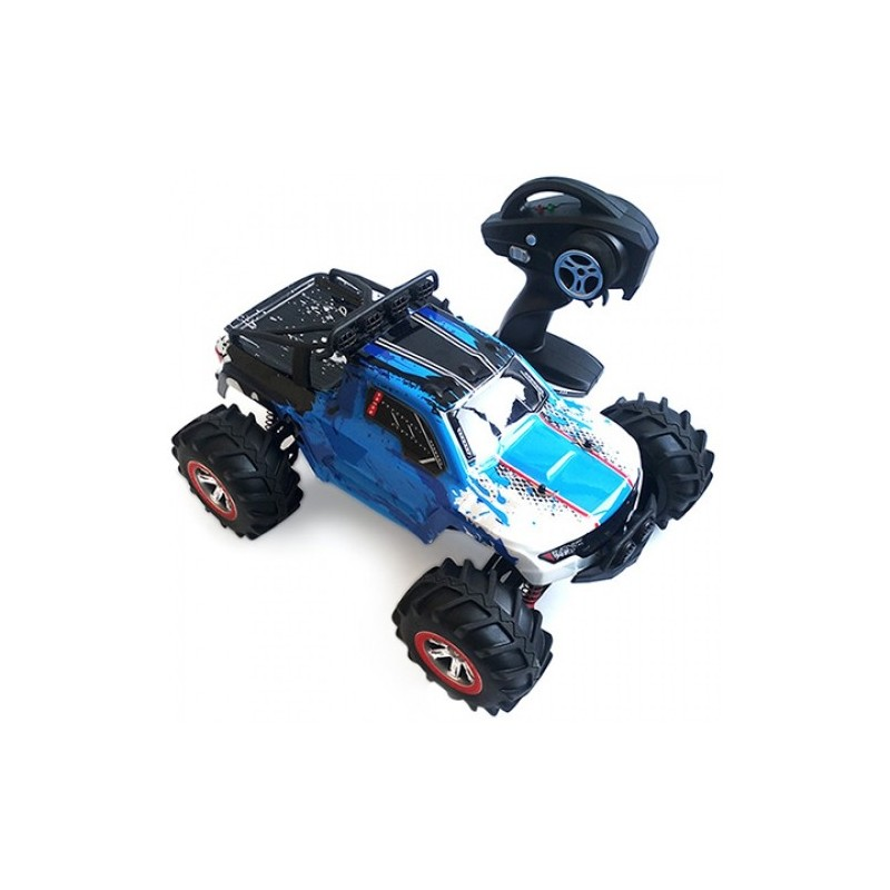 1:12 RC Off-road Amphibious Speed Truck 30km/h / 2.4GHz 4-wheel Drive / 390 Strong Magnetic Carbon Brushed Motor - Blue