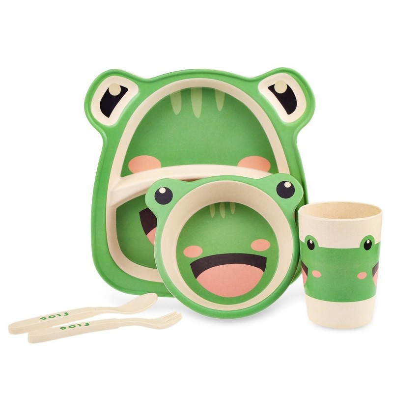 5PCS Baby Bamboo Fiber Tableware Animal Pattern for Kid Children - Green - 3J82003115