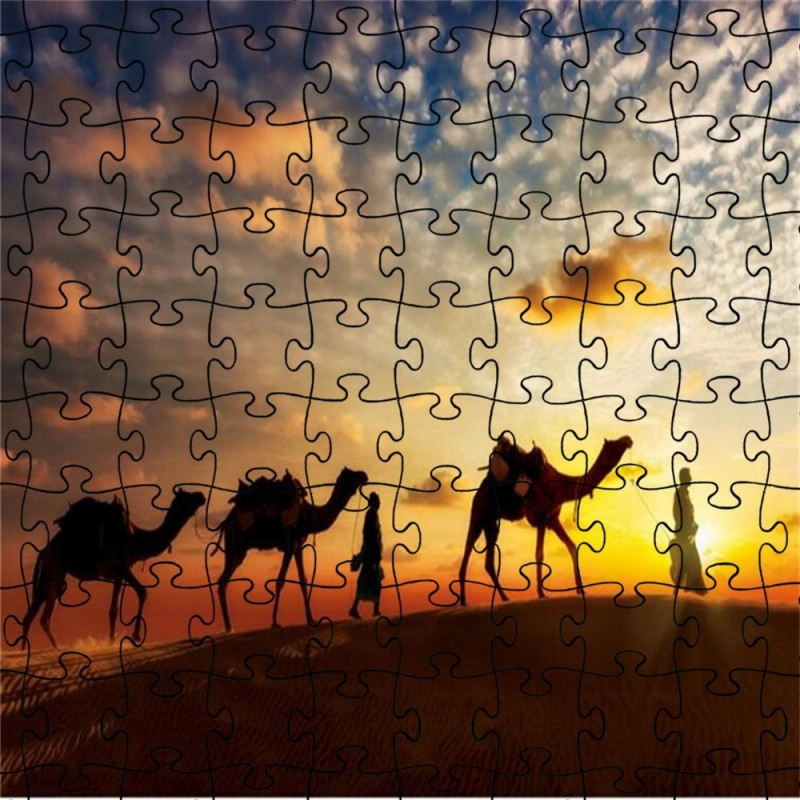 3D Jigsaw Desert Camel Paper Puzzle Block Assembly Birthday Toy - Multi - 5L17815612