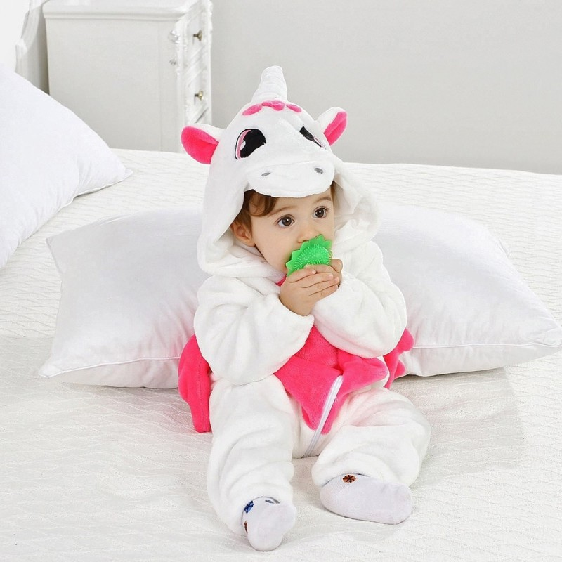 Baby Long Sleeve Cartoon Animal Modeling Warm Romper - White - 4Q07467728