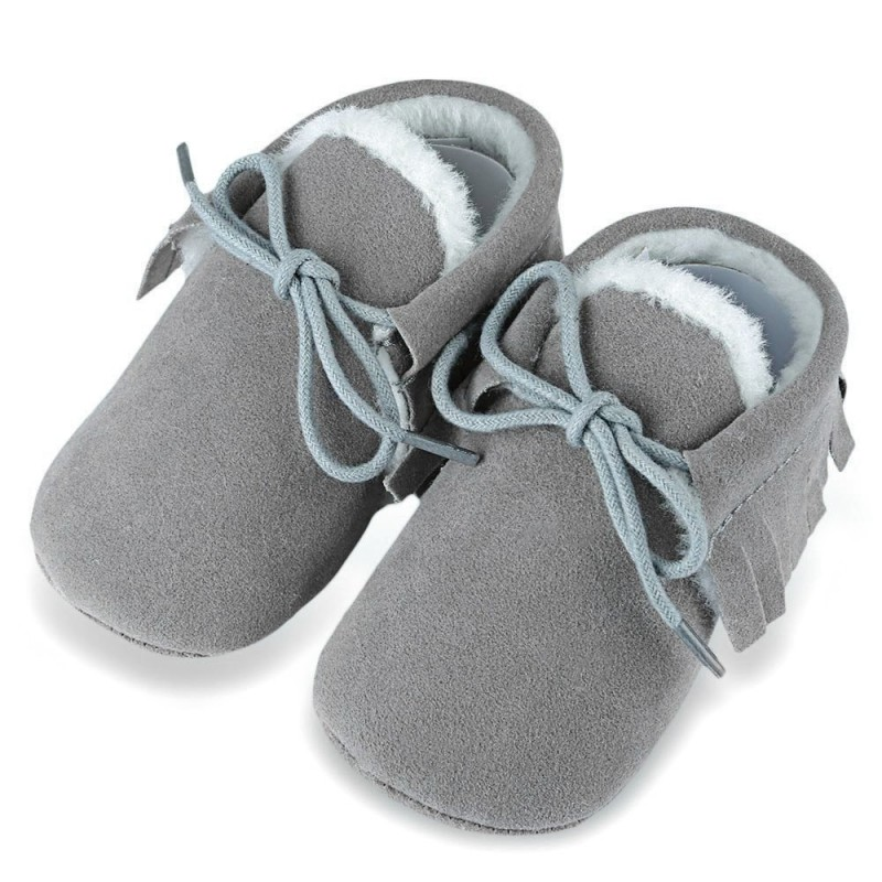 Chic Fringe Embellished Soft Sole Shoes for Toddler Babies - Light Gray - 3817781915