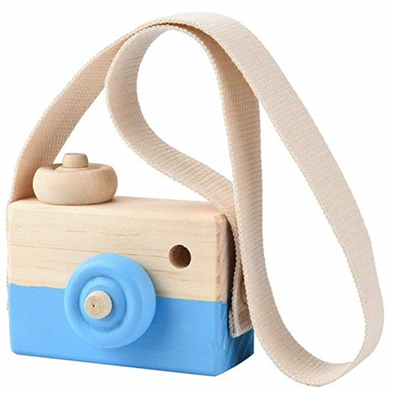 Wooden Toy Camera Kids Creative Neck Hanging Rope Photography Prop Gift - Crystal Blue - 3U92599813