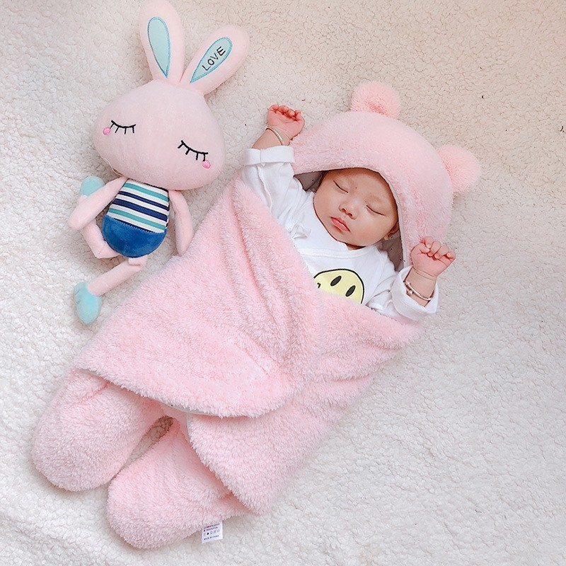 Baby Warm Comfortable Cartoon Envelope Swaddle Winter Wrap Blanket Unisex lovely - Pink - 3R94867216