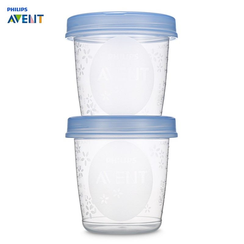 Philips Avent 5pcs Baby 6oz / 180ml Breast Milk Storage Cups - Blue And White - 3D50759612