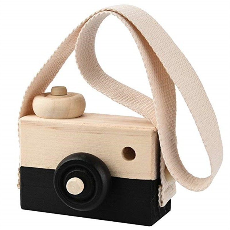 Wooden Toy Camera Kids Creative Neck Hanging Rope Photography Prop Gift - Black - 3U92599812