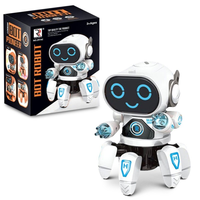 Six-claw Music Dancing Electric Robot for Children - White - 5352438912