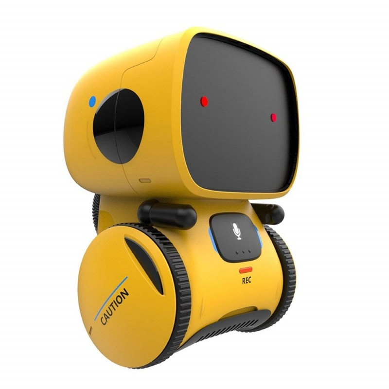 Voice Control Touch Sensing Smart Interactive Robot Educational Toy - Bright Yellow - 4R32457212