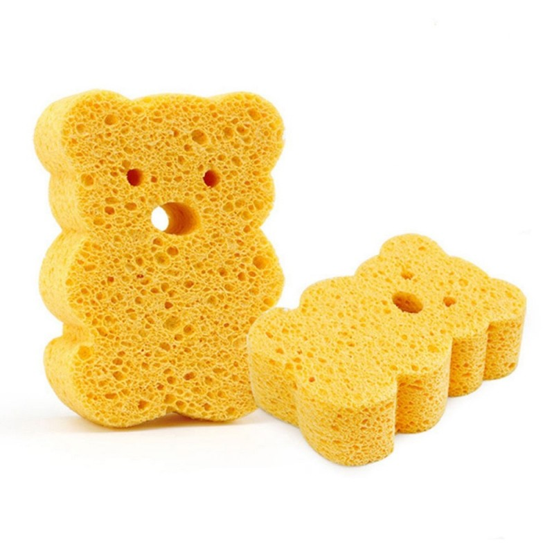 Cartoon Newborn Baby Bath Puff High Absorbent Animal Shape PVA Bath Sponge for Kids Body - Orange - 3Y67211113