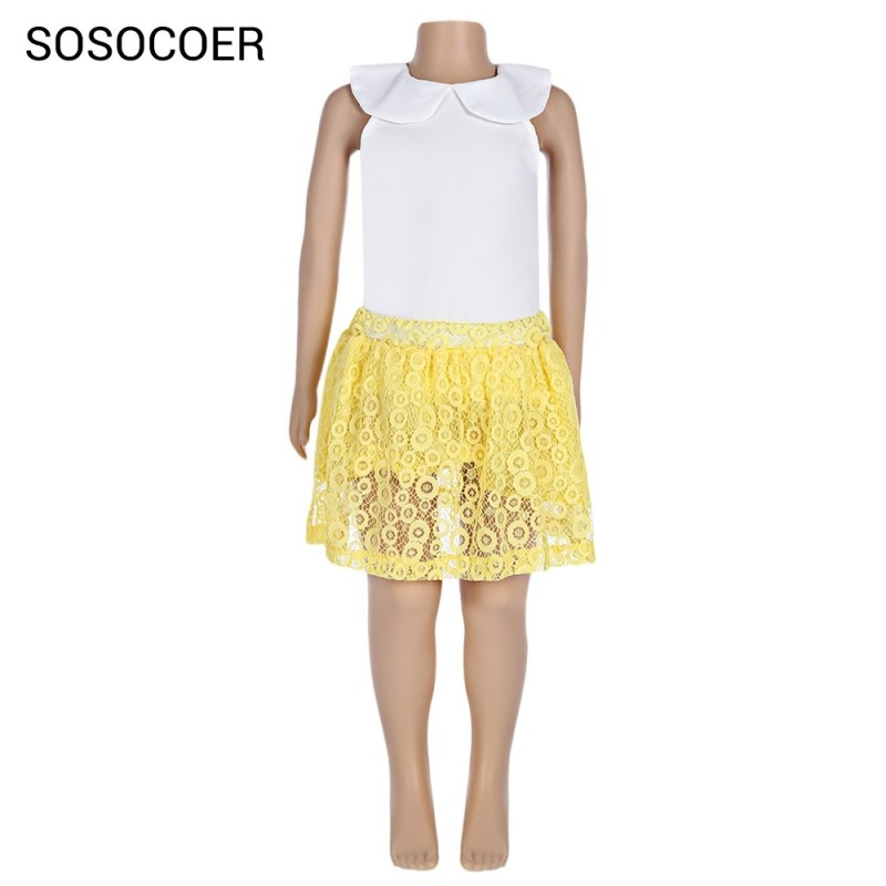 SOSOCOER 2pcs Girls Sleeveless Chiffon Tank Top Lace Skirt - Gold And White - 3P28794012