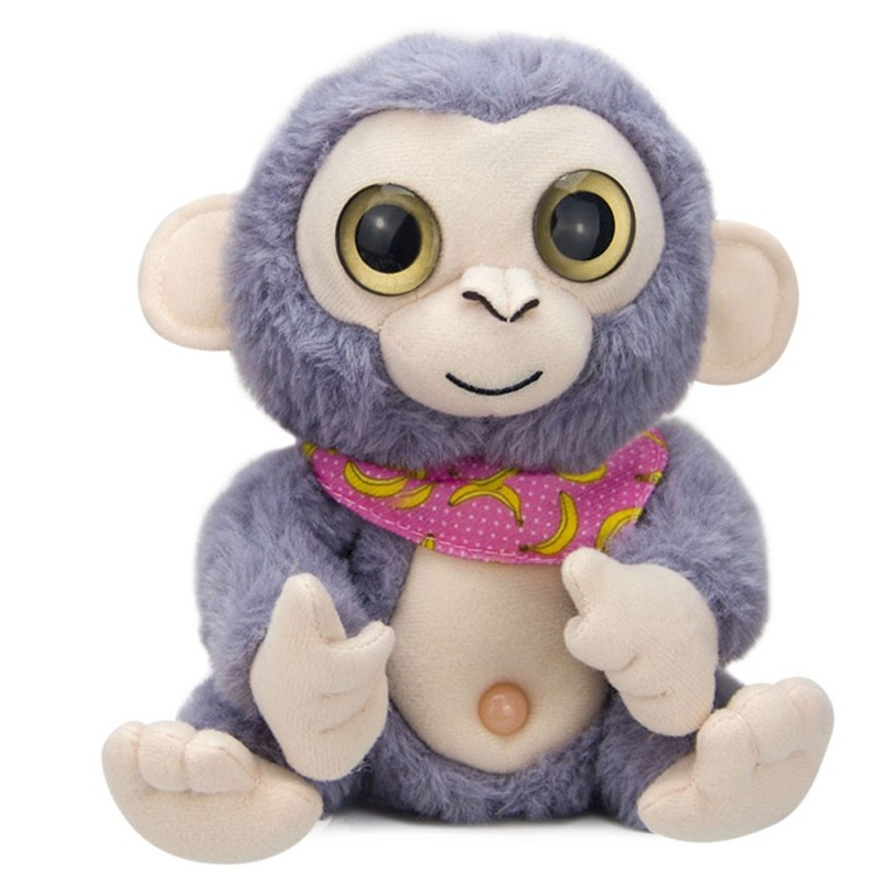 Stuffed Plush Toy Electric Monkey Talk Repeat Speak Record Body Swing Doll - Gray Cloud - 5757303413