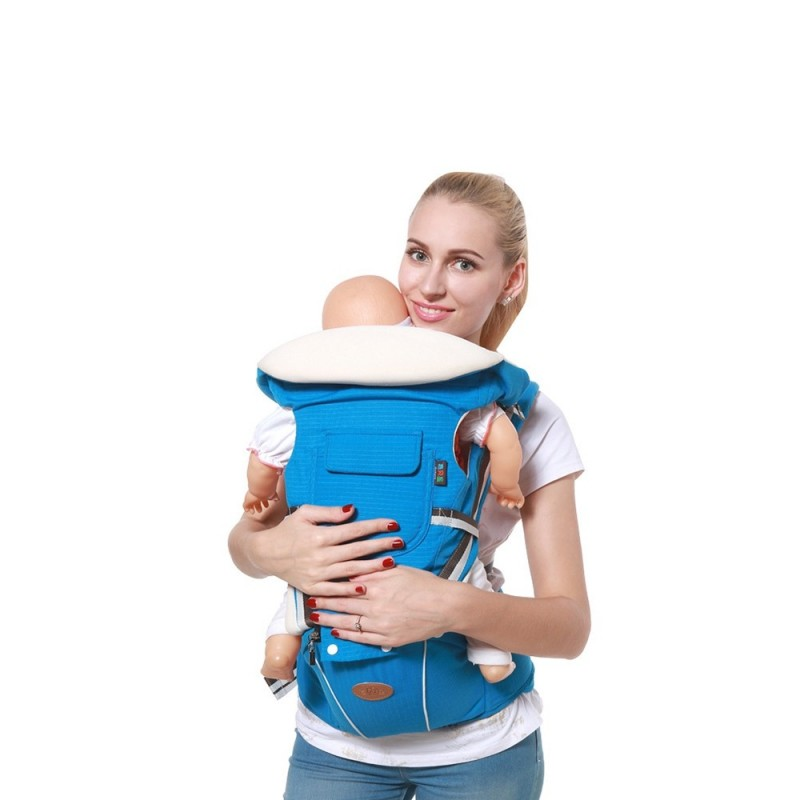Breathable Sling Baby Carrier with Waist Stool - Lake Blue - 3662309514