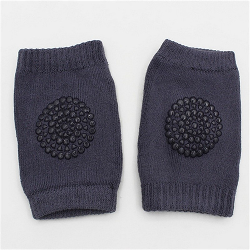 1 Pair Baby Knee Pad Kids Safety Crawling Elbow Cushion Infant Toddlers Leg Warmer - Deep Gray - 3N69910216