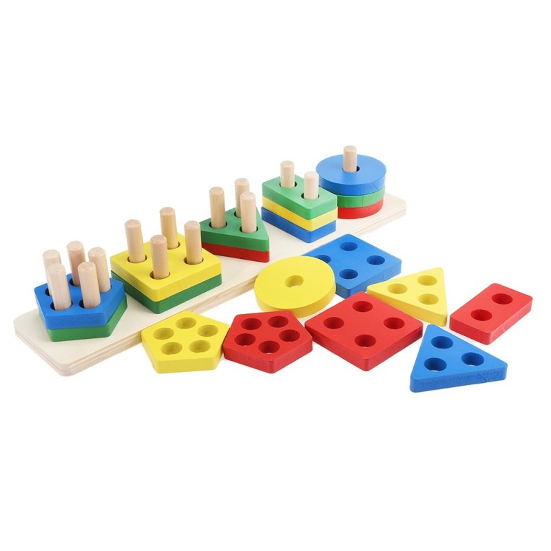 Shape Matching Geometry Game Cognition Puzzle Wooden Educational Toy - Multi - 3A79041112