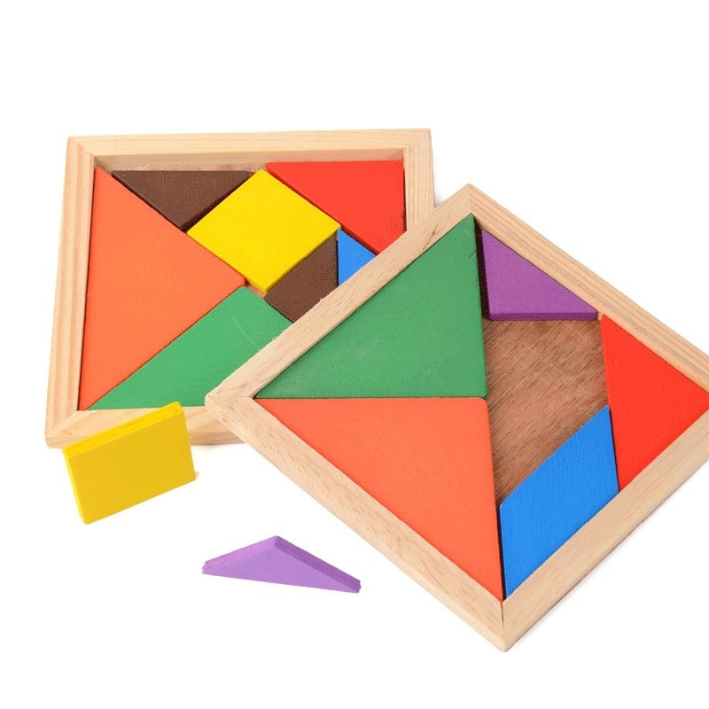 10.5CM Wooden Jigsaw Puzzle Intelligence Toy for Kids - Colormix - 3P63436712