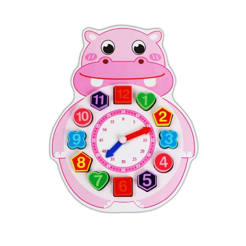 Wooden Lacing Beads Animal Clock Educational Toy for Children - Multi-C - 5E55606914