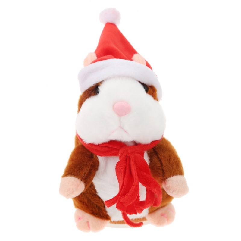 Christmas Style Cute Talking Hamster Plush Toy Sound Record - Light Brown - 3855466414