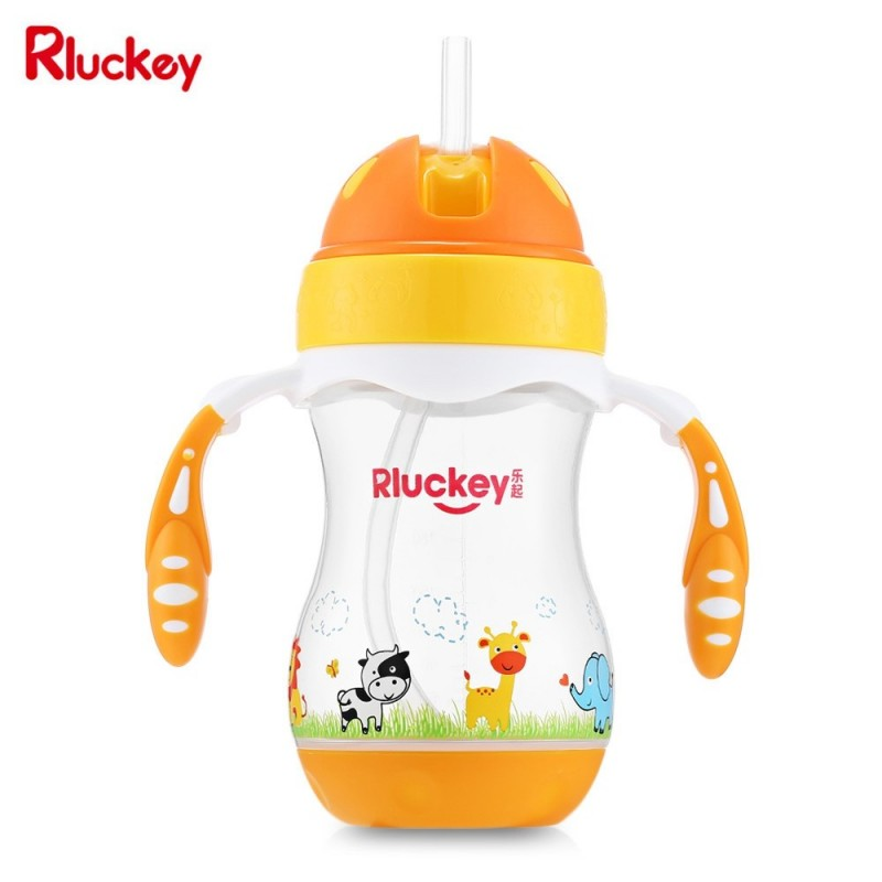 Rluckey L - SH005 240ml Slide Cover Binaural Straw Cup Baby Kettle - Yellow - 4326503812