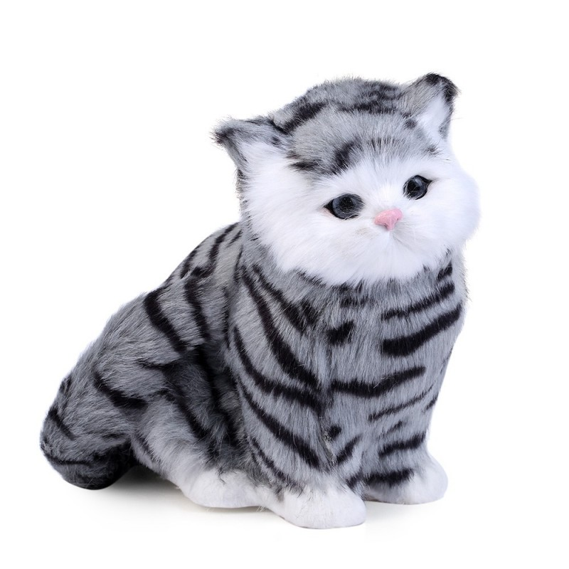 Lovely Simulation Cat Doll Plush Toy with Sound Birthday Christmas Gift for Kids Baby - Colormix - 3A14580512