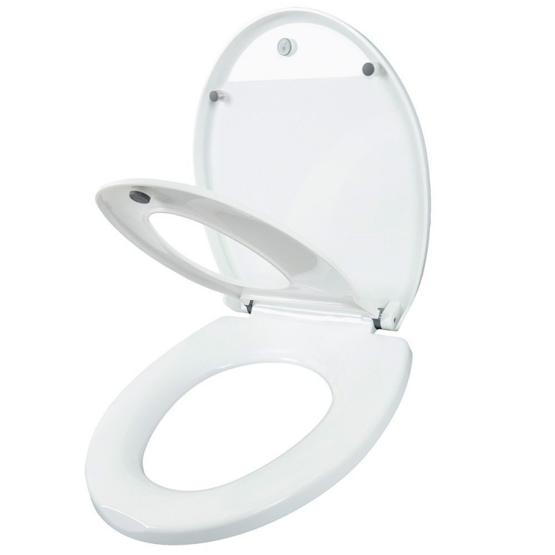 Round Adult Toilet Seat with Child Potty Training Cover - White - 4332085712