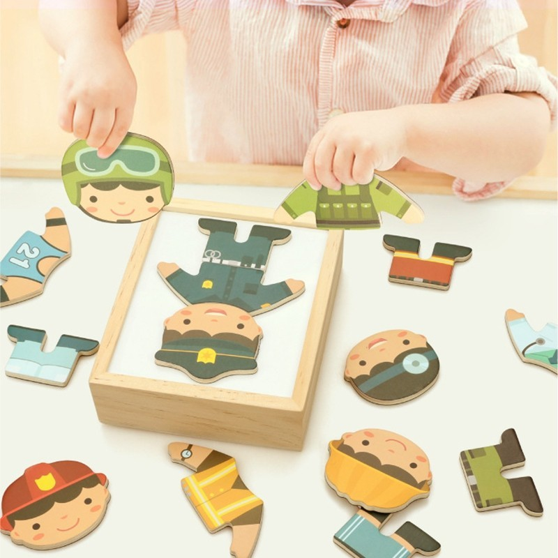 Magnetic Wooden Puzzle Educational Toy for Baby Kids Dress Up Dressing Jigsaw - Multi-B - 4488044613