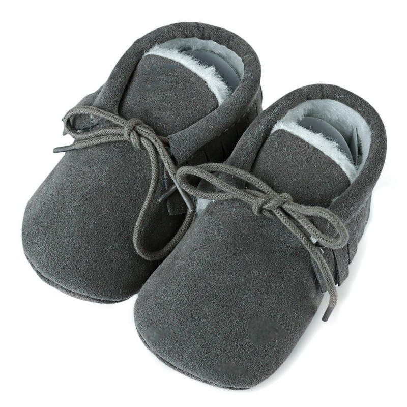Chic Fringe Embellished Soft Sole Shoes for Toddler Babies - Deep Gray - 3T17781918