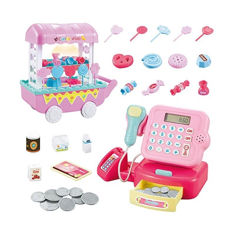 Children Music Lighting Candy Trolley Supermarket Cash Register Set - Pig Pink - 5Z54066312