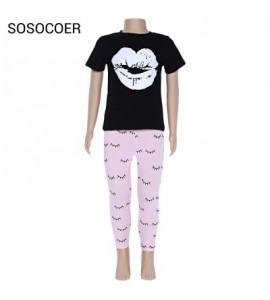 SOSOCOER 2pcs Girls Lip Pattern T-shirt Eyelash Print Trousers - Black And Pink - 3X28796612