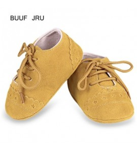 BUUF JRU Star Print Skid-proof Soft Sole Infant Toddler Shoes - Yellow - 3019089815