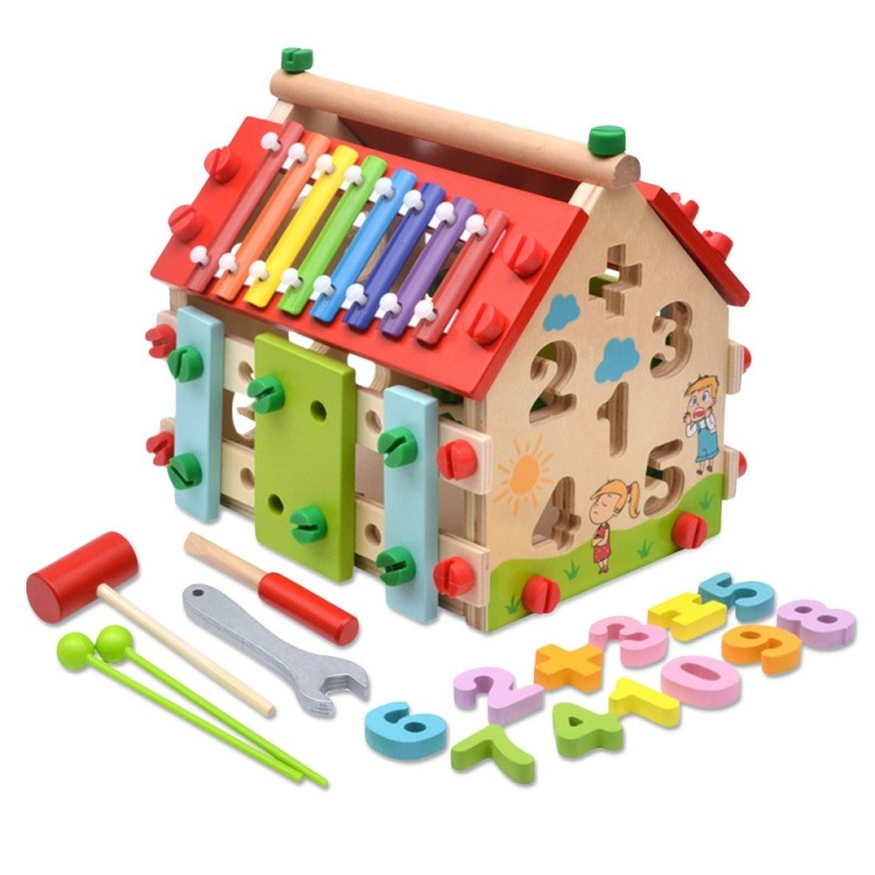 Wisdom House Toy Kids Dismounting Educational Math Musical Wooden Learning Blocks Set - Multi - 5154480612