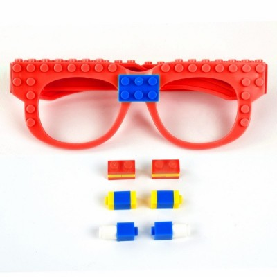 Creative DIY Building Blocks Glasses Toy - Red - 3686127813