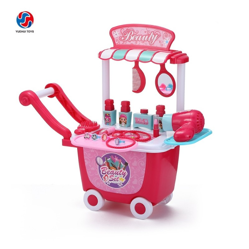 YUEHUI Kids Household Playset Simulation Cosmetic Trolley - Rose Red - 3H77942112
