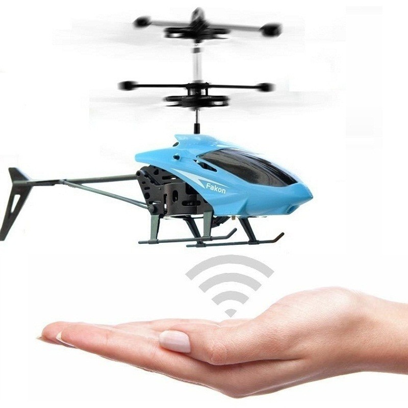 Induction Flying Aircraft Electric Micro Helicopters Toys Gift for Kids - Dodger Blue - 4O18760912