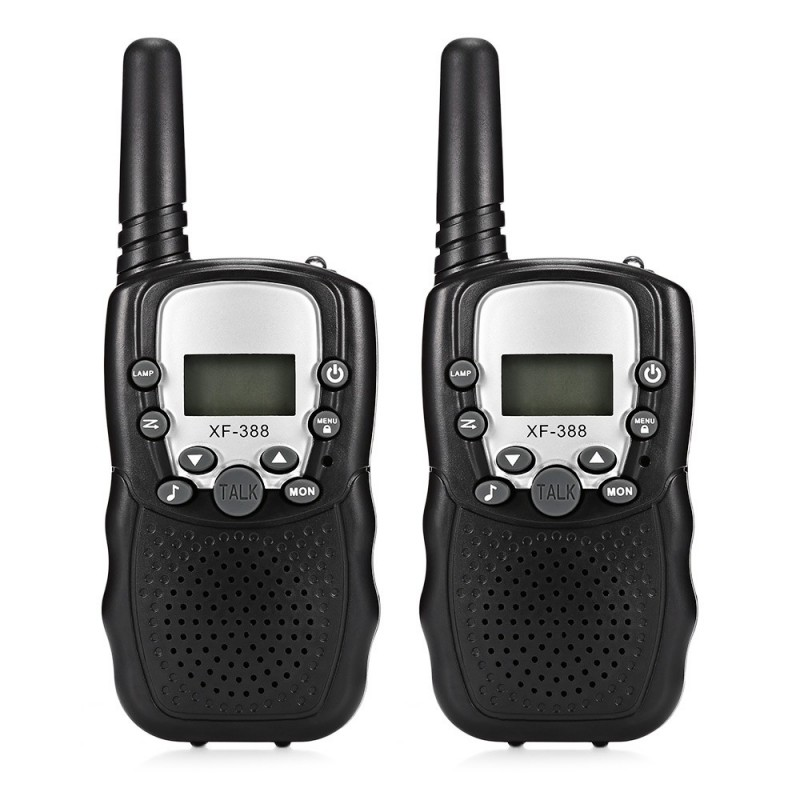 2pcs XF - 388 Children Walkie Talkies 2-way Radio 3KM Range 22 Channels - Black - 3B88793112