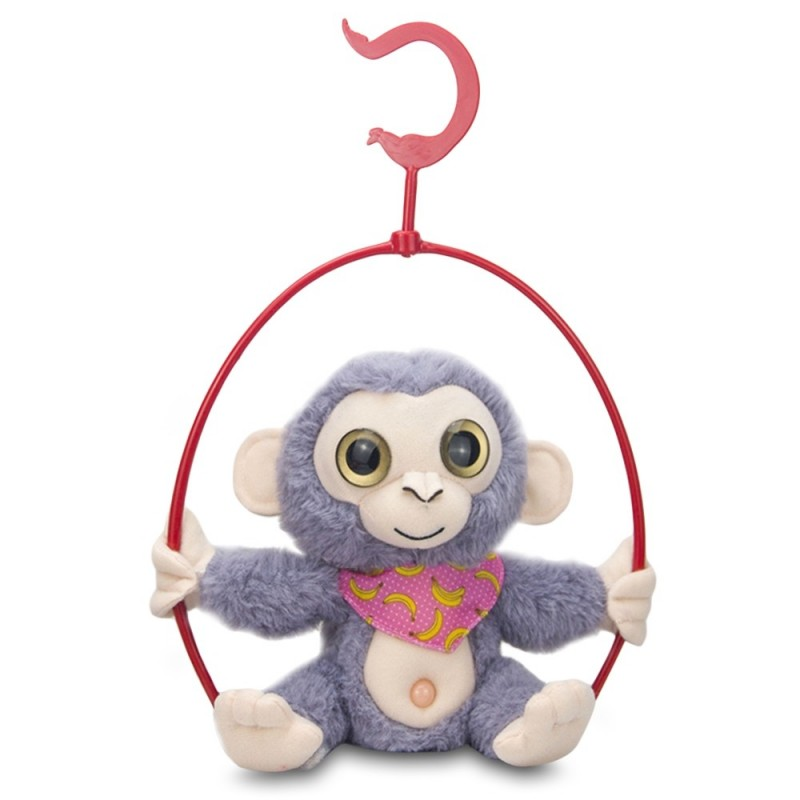Stuffed Plush Toy Electric Monkey Talk Repeat Body Shake Doll with Shelf - Purple Mimosa - 5Z57411513