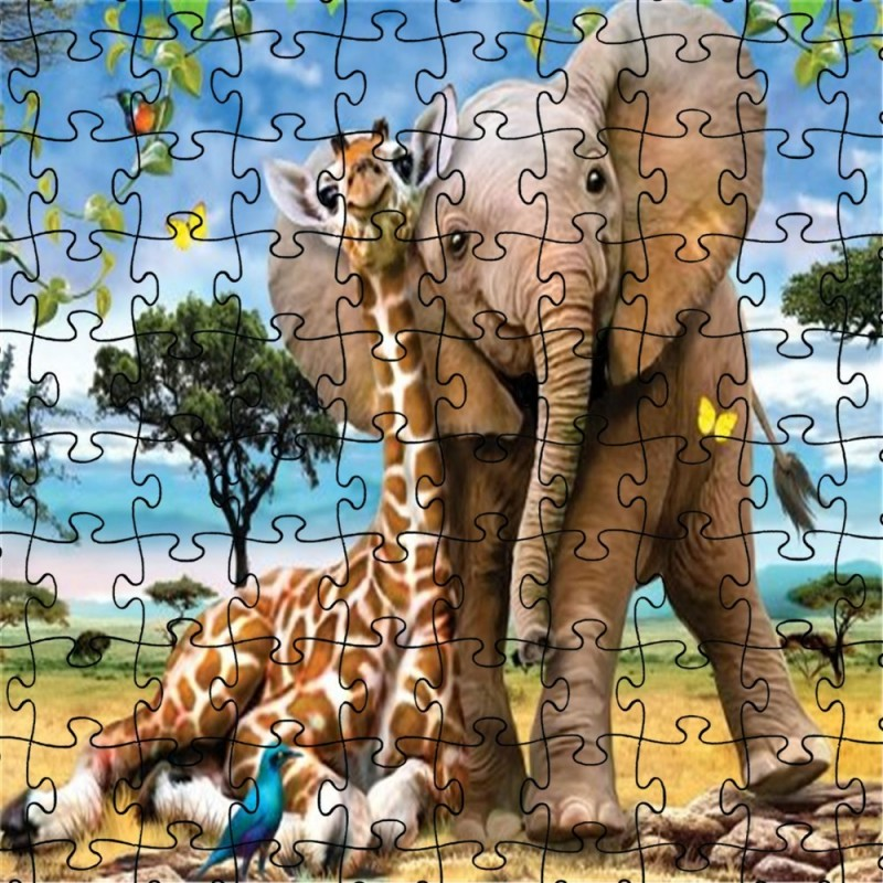 3D Jigsaw Paper Elephant Puzzle Block Assembly Birthday Toy - Multi - 5F17706012