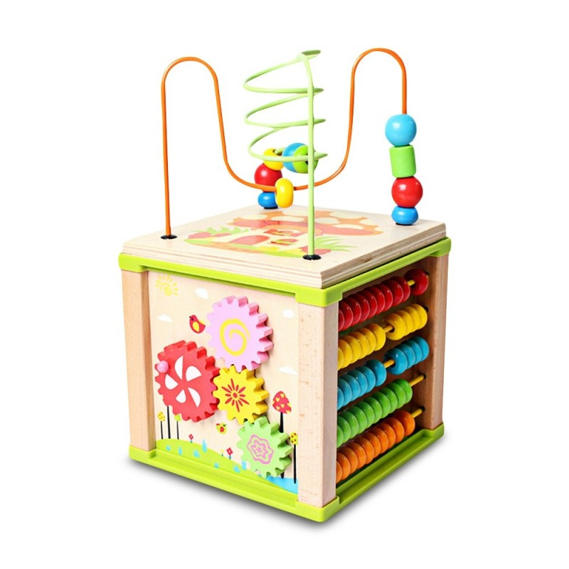 Multifunctional Kids Wooden Learning Bead Maze Activity Cube Educational Toy - Multi - 3R06768412