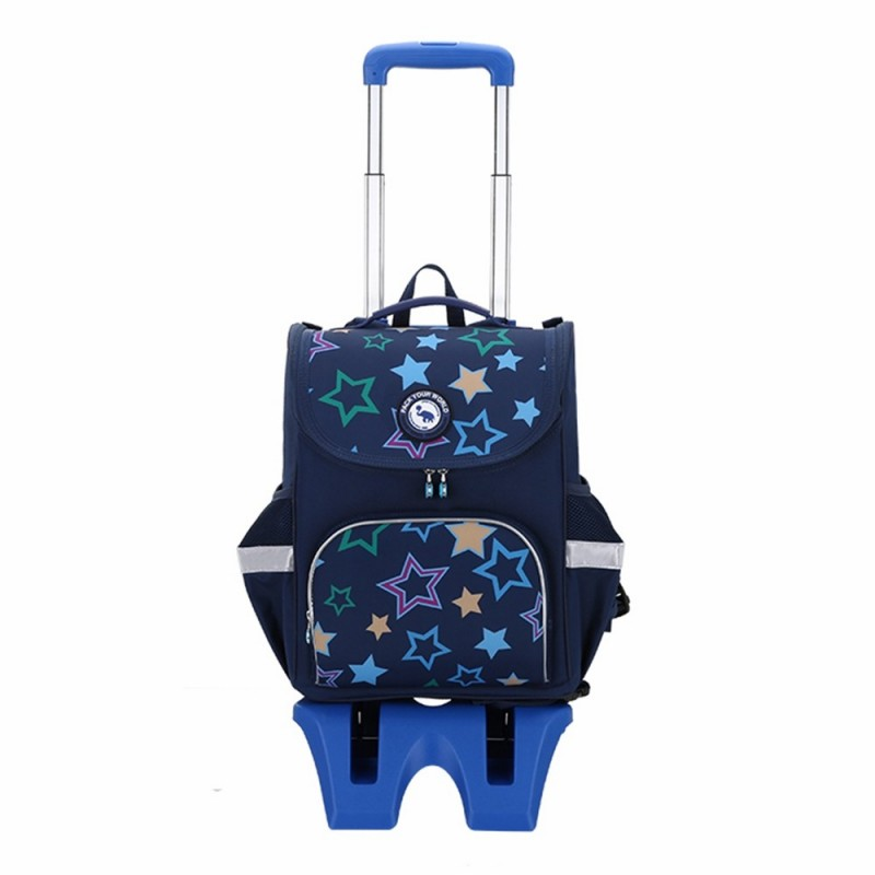 OIWAS Child Wheeled Backpack Waterproof Rolling School Pack Travel Suitcase - Navy Blue - 3L88060413
