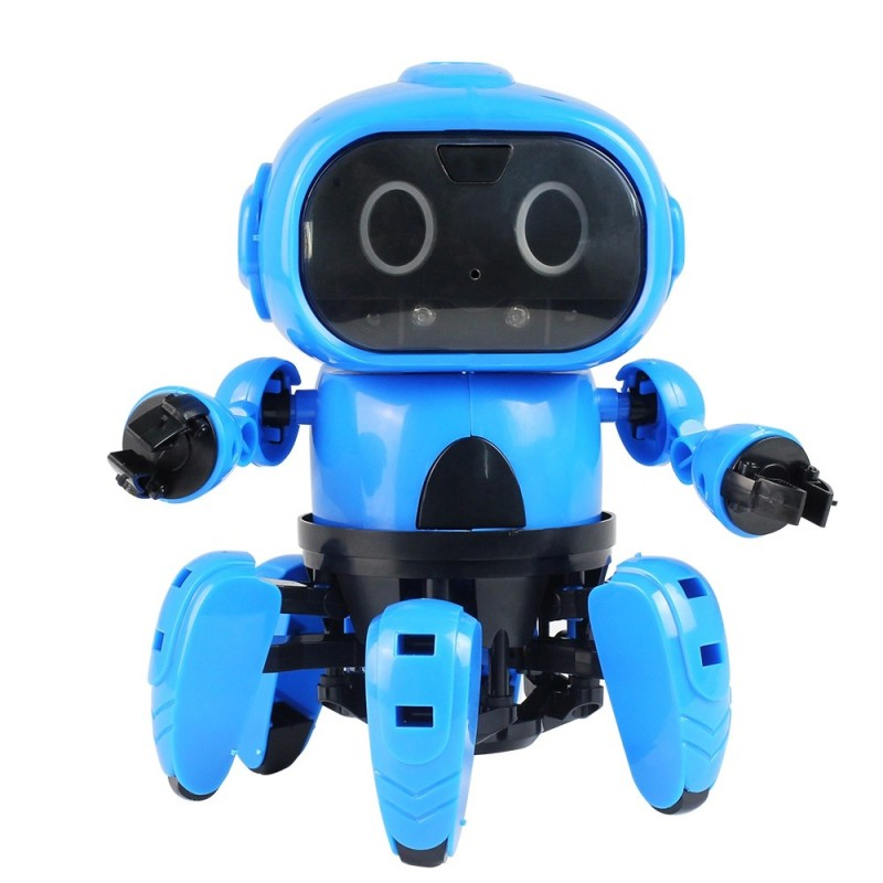 MoFun - 963 DIY Assembled Electric Robot Infrared Obstacle Avoidance Educational Toy - Dodger Blue - 4V22170512