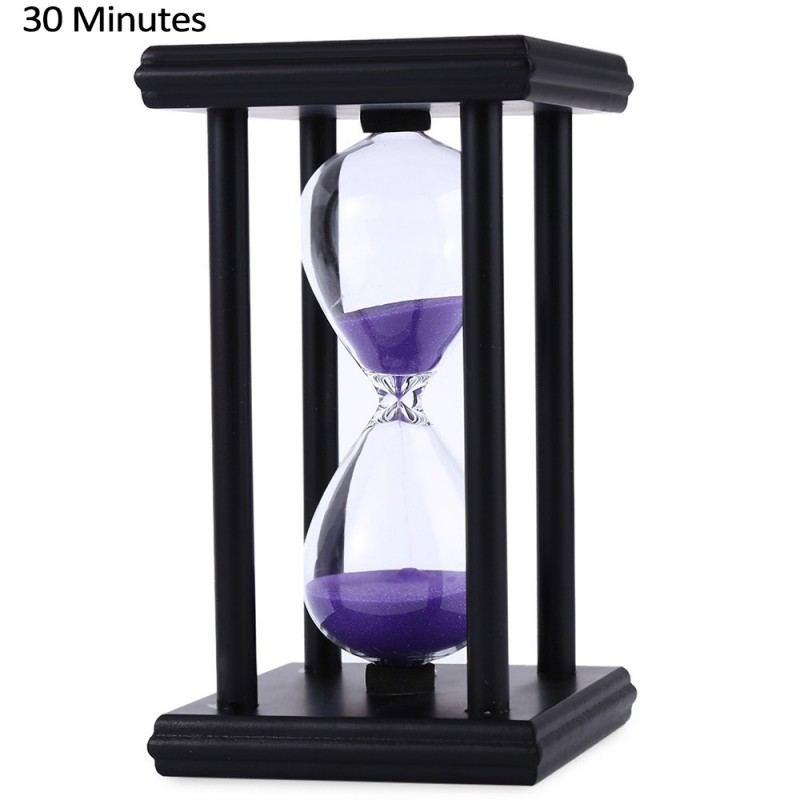 Hourglass Sand Timer 30 Minutes Wood Sand Timer for Kitchen Office School Decorative Use - Black Purple - 2C78126612