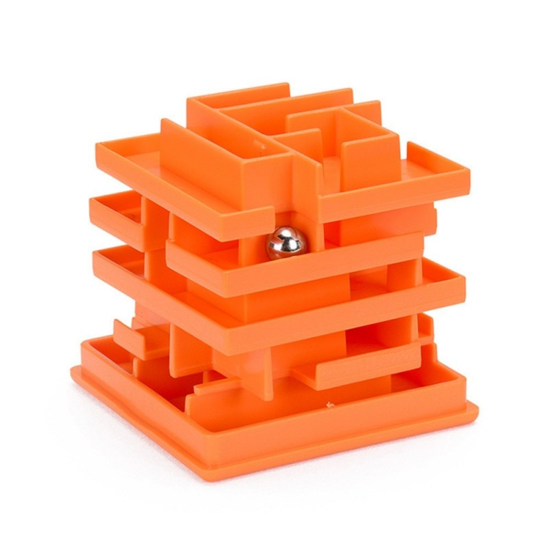 Children's Puzzle 3D Puzzle Difficult Toy Multi-layer Ball Maze Cube Toy - Dark Orange - 4J73769214