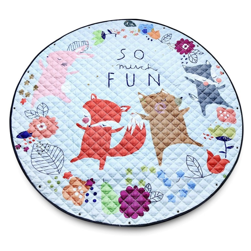 Round Cartoon Baby Crawling Carpet Kids Playing Mat Children Paradise - Multi - 3582004612
