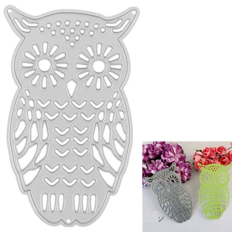 Owl Embossing Cutting Dies Stencils Metal DIY Scrapbooking Decorative Metal Craft - Silver - 3A53658412