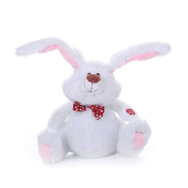 Cute Stuffed Toy Electric Dancing Rabbit - White - 3U57699912