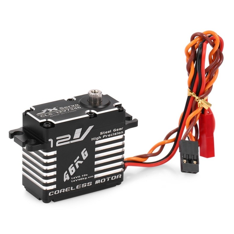 46KG 12V 180 Degrees HV High Precision Steel Coreless Steering Gear Digital Servo Suitable for RC Robot - Black
