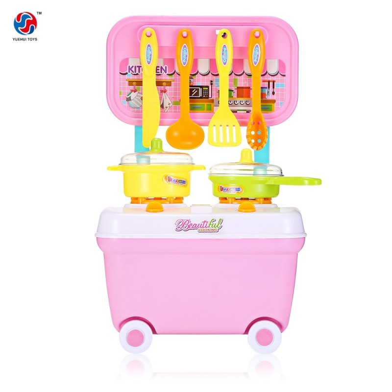 YUEHUI Kids Household Playset Simulation Kitchen Toys Small Cart - Pink - 3Z77942712