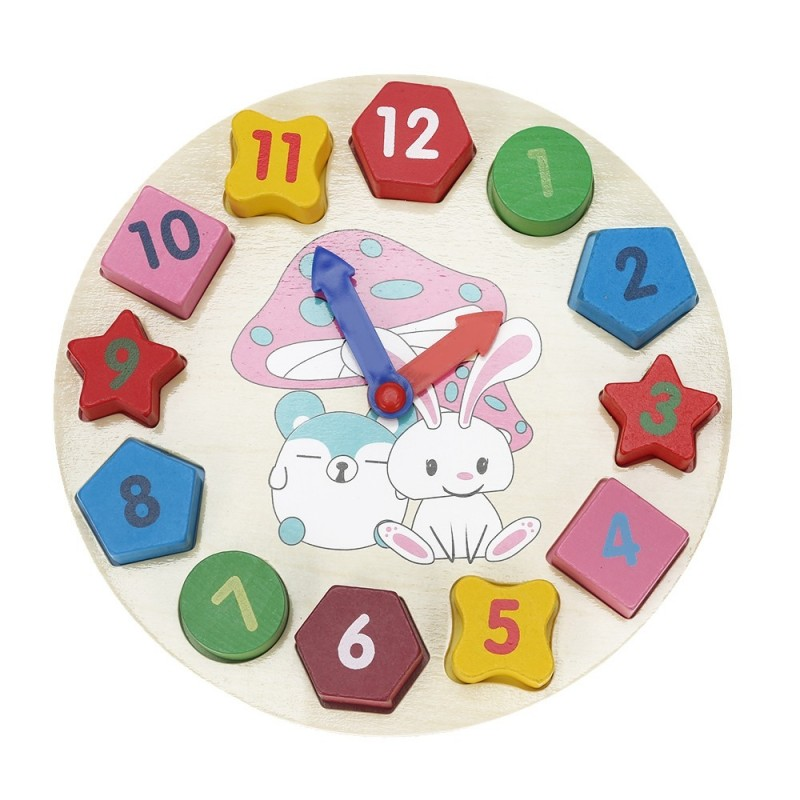 Wooden Digital Geometry Matching Clock Cognitive Toy - Colormix - 3W40300412