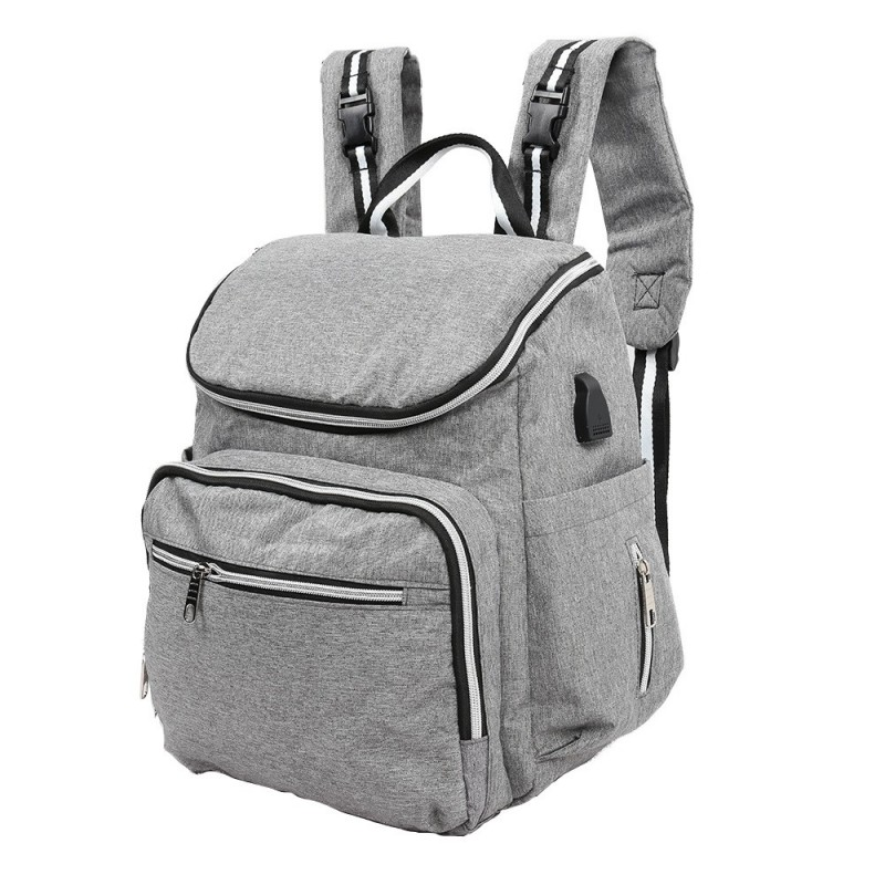 Large Capacity Mummy Maternity Nappy Bag Travel Nursing Backpack - Light Gray - 3Q70580513